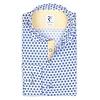 Weißes Seersucker-Baumwoll Hemd mit Blumendruck.