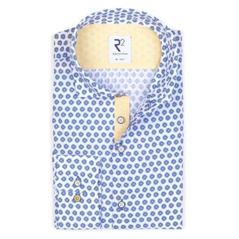 Seersucker white flower print cotton shirt.