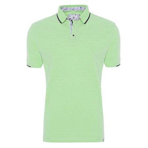 Neon green plain polo.