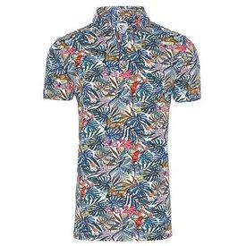 Multicolored flower print polo shirt.