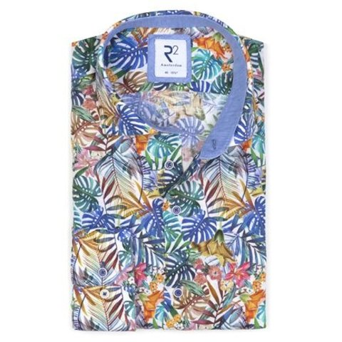 Multicolour tropische print linnen overhemd.