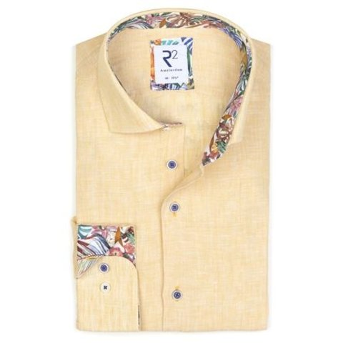 Yellow linen shirt.
