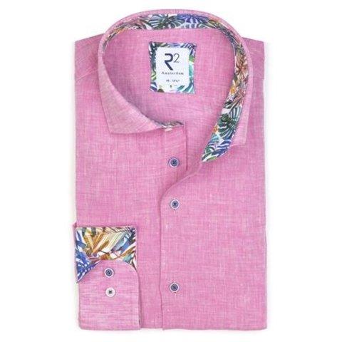 Fuchsia linen shirt.