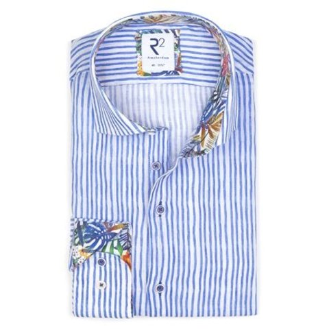 Blue striped linen shirt.