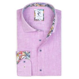 Roze effen linnen overhemd.