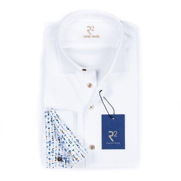Wit uni handgemaakt shirt met dubbel manchet.
