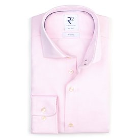 Lichtroze strijkvrij  katoenen overhemd.