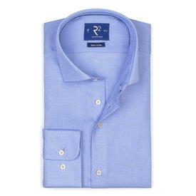Blauw strijkvrij katoenen overhemd ML7.