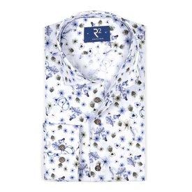 White floral print cotton shirt SL7.
