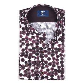 Extra Long Sleeves. White circle print cotton shirt.