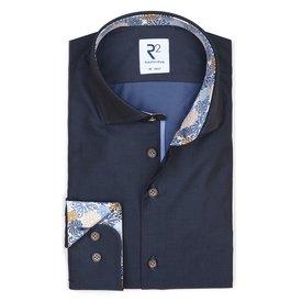 Extra Long Sleeves. Navy blue cotton shirt.
