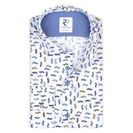 Extra Lange Mouwen. Wit auto print katoenen overhemd.
