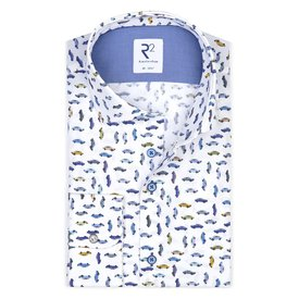 Wit auto print katoenen overhemd ML7.