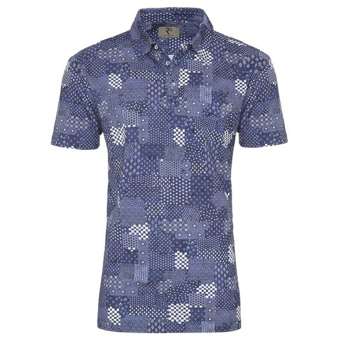 Blaues Patchworkdruck-Polo.