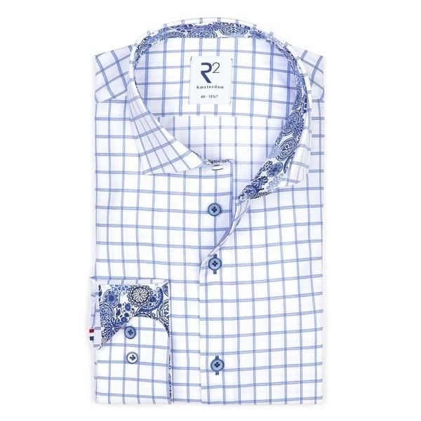 Wit blauwe ruit katoenen overhemd met borstzak.