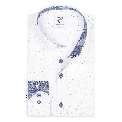 White mini print cotton shirt with chest pocket.