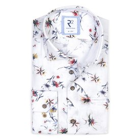 White flower print linen/cotton shirt.
