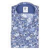 White graphic print cotton shirt with chest pocket.