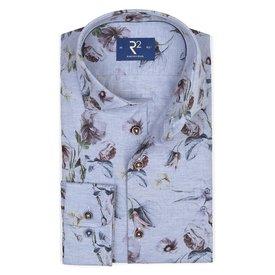 Light blue floral print flanel shirt.