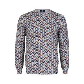 Antraciet kraanvogel print katoenen pullover.