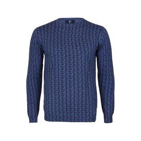 Blauw kraanvogel print katoenen pullover.