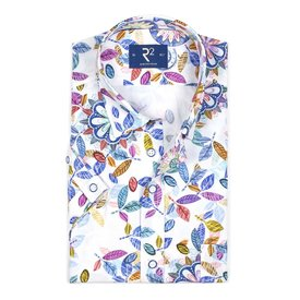 Short sleeve white printed cotton shirt.