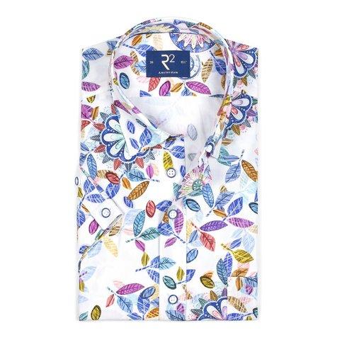Korte mouwen wit print katoenen overhemd.