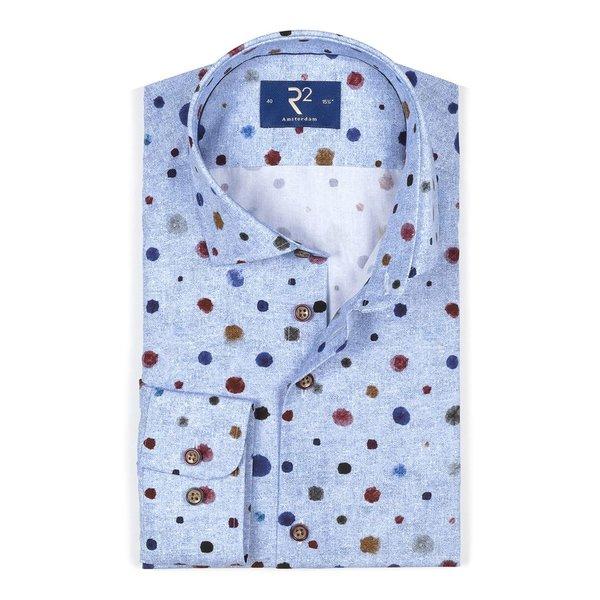 Lichtblauw stippenprint katoenen overhemd.