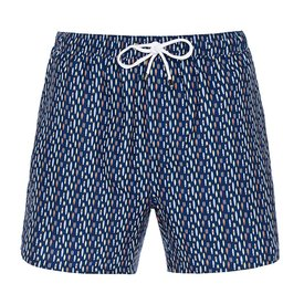 Swim short with little surfboards.