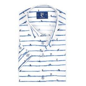 Short sleeve white surfprint cotton shirt.
