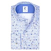 XL Fit. Weißes Baumwollhemd mit mehrfarbigen Musterdruck.