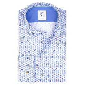 XL Fit. Wit stippen print katoenen overhemd.