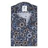 XL Fit. Dunkelblaues Baumwollhemd mit Blumendruck.