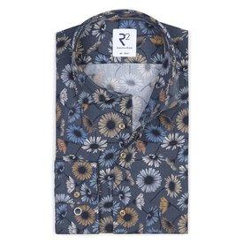 XL Fit. Donkerblauw bloemenprint katoenen overhemd.