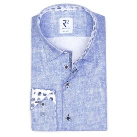 XL Fit. Lichtblauw print katoenen overhemd.