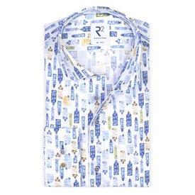 XL Fit. Wit grachtenpand print katoenen overhemd.