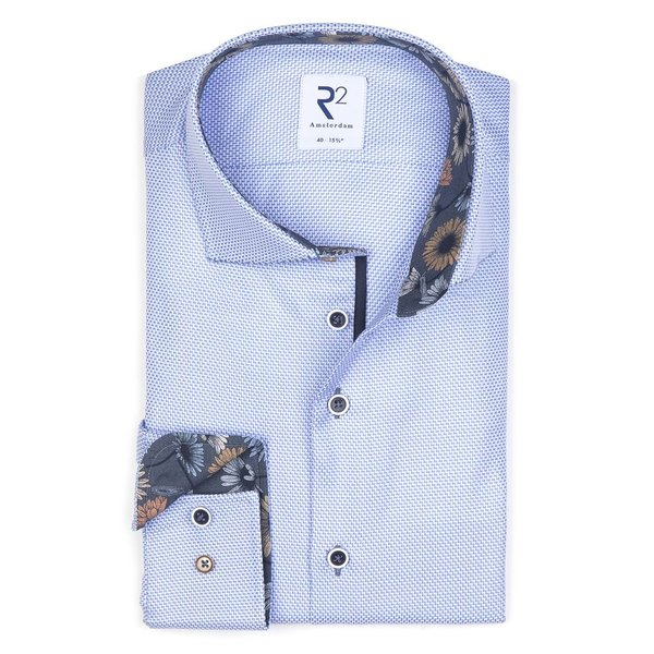XL Fit. Lichtblauw mini-dessin katoenen overhemd.