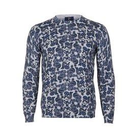 Grey paisley print cotton pullover.