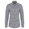 Floral flannel shirt.