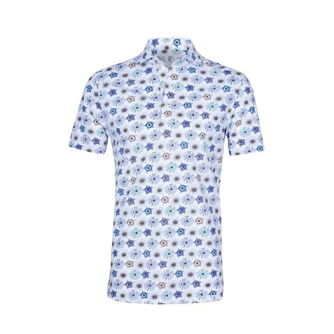 Witte grafische print piquet katoenen shirtpolo.