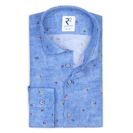 Blue flowerprint viscose shirt.
