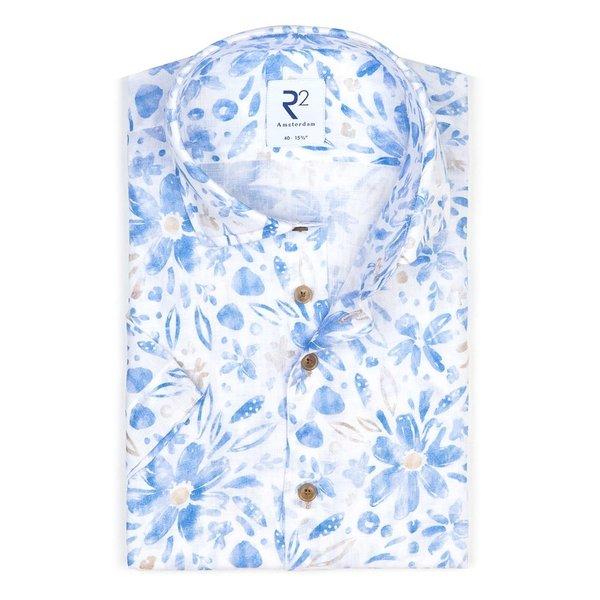 Korte mouwen bloemenprint linnen overhemd.