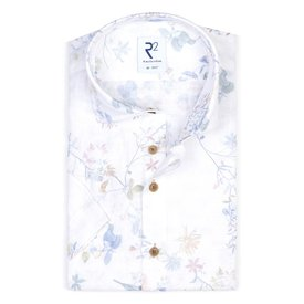 Short sleeves floral print linen shirt.