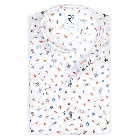 Short sleeves summer holiday print linen shirt.