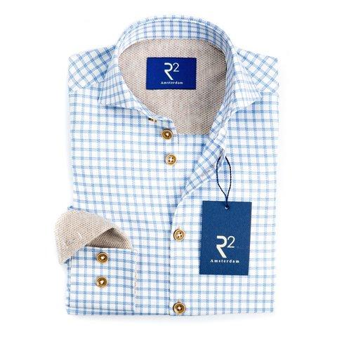 Kids light blue checkered cotton shirt.