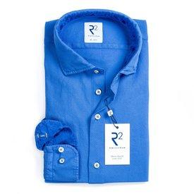 Cobalt blue Jersey cotton garment dyed shirt.