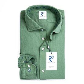 Green Jersey cotton garment dyed shirt.