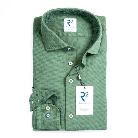 Groen garment dyed katoenen overhemd.