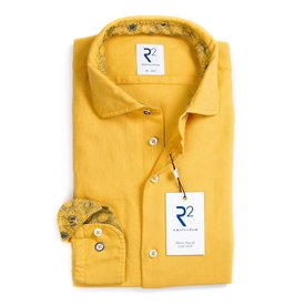 Yellow Jersey cotton garment dyed shirt.