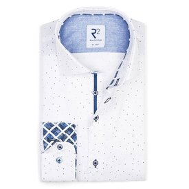 Extra Lange Mouwen. Wit stippenprint katoenen overhemd.